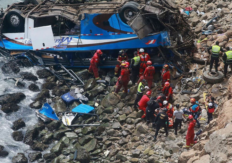 Peru bus crash: 48 dead after coach falls from cliff onto
