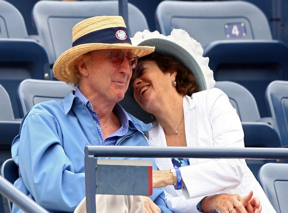 Gene Wilder and his wife Karen Boyer at a tennis game