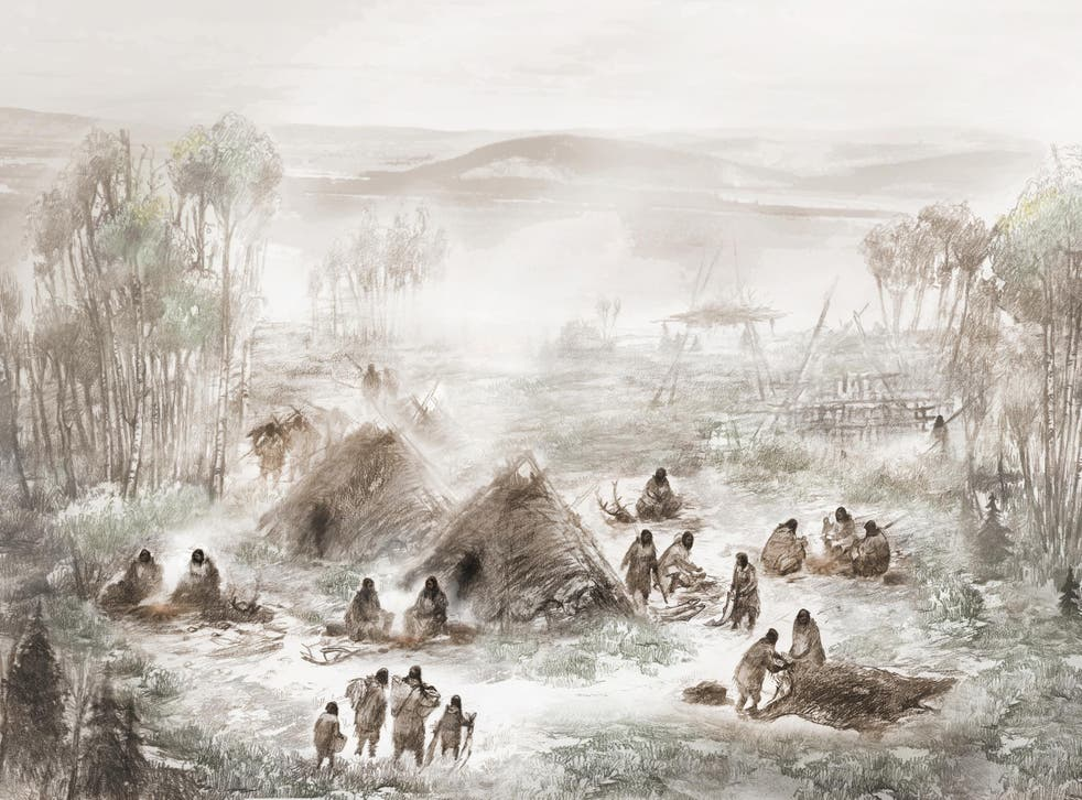 A scientific illustration of what the Upward Sun River camp, where the remains of the ancient child were discovered, would have looked like