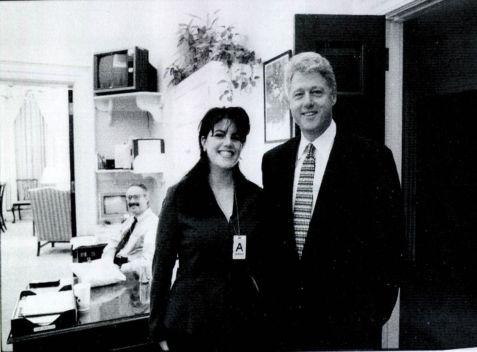 Former White House intern Monica Lewinsky meeting President Bill Clinton at a White House function in 1995