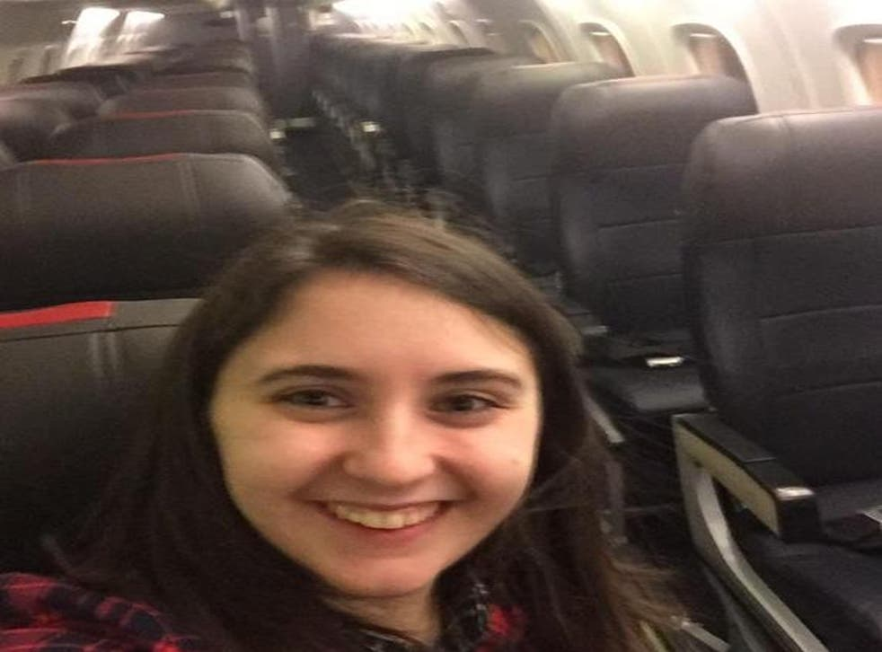 A woman was the only passenger on her domestic US flight
