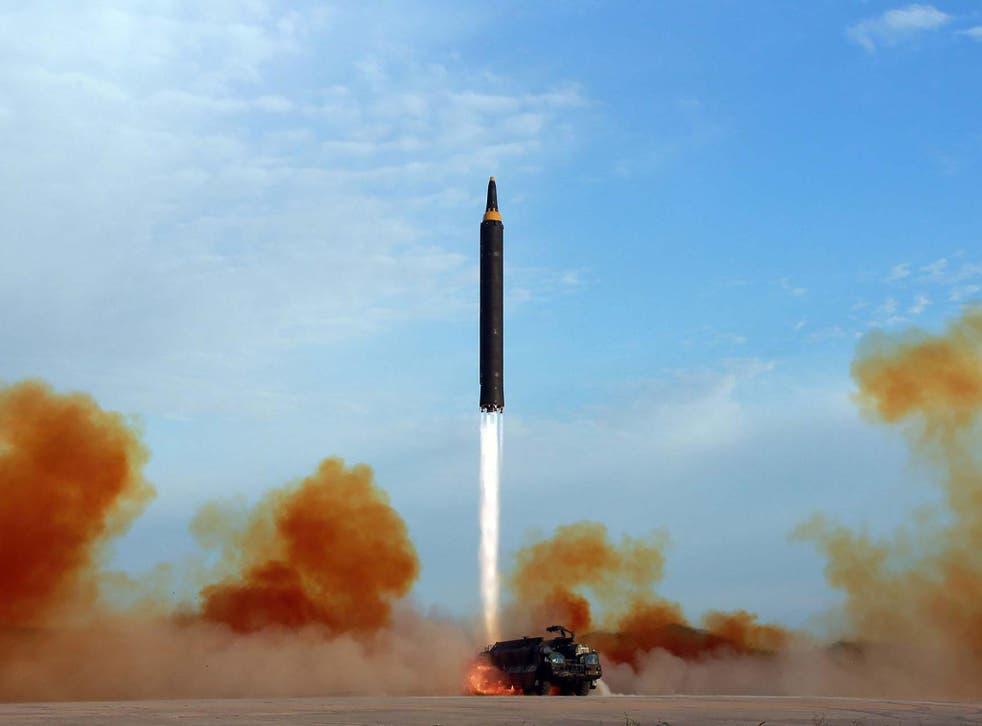 North Korea launches a Hwasong-12 intermediate-range ballistic missile