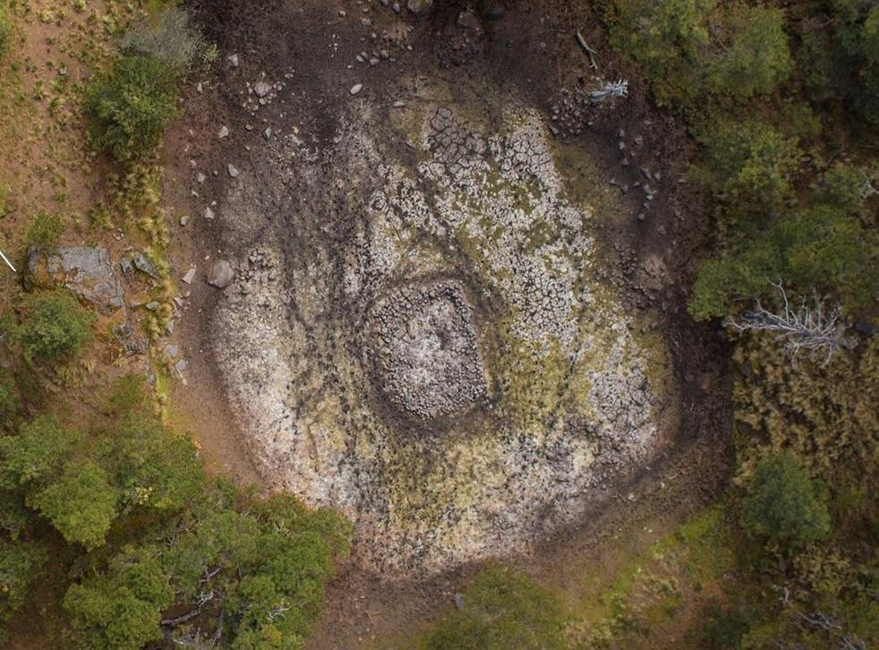 The Nahualac shrine site viewed from above shows the submerged structure in the pond