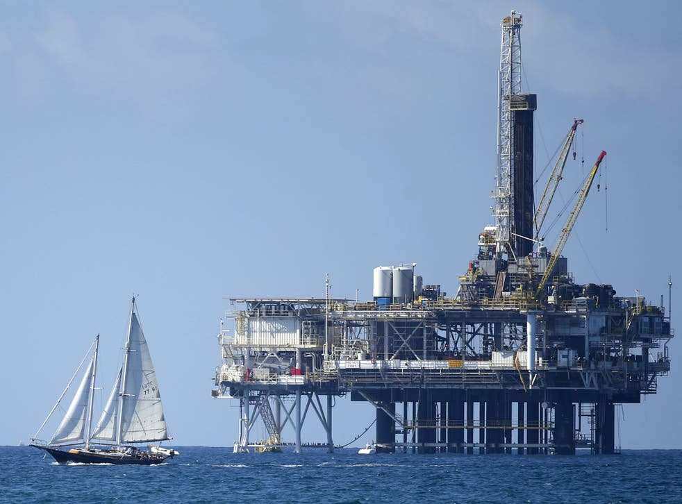 An offshore oil platform is seen in Huntington Beach, California