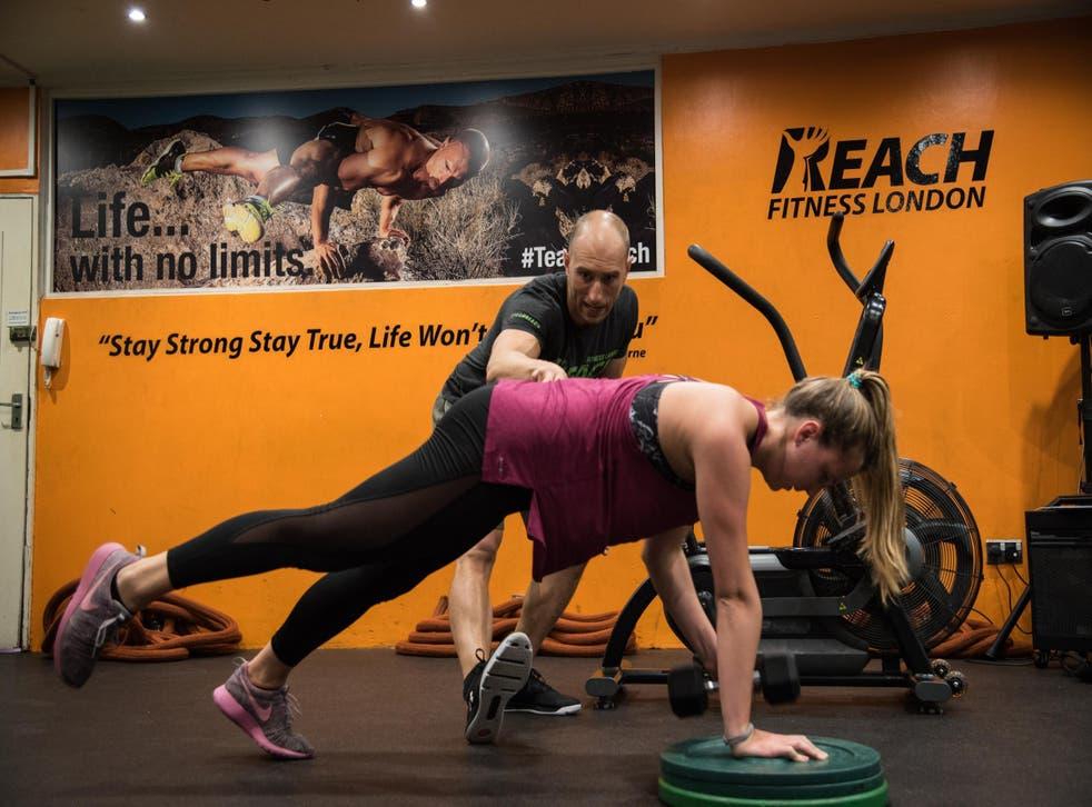 Rachel works on her core strength