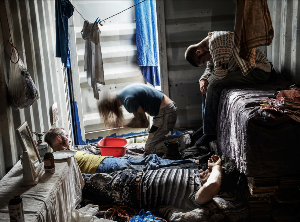 A photograph released by the NCA, posed by models as part of its 'Invisible People' exhibition, which aims to raise awareness of exploitation