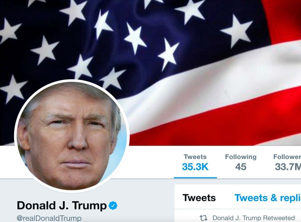 The masthead of U.S. President Donald Trump's @realDonaldTrump Twitter account in July