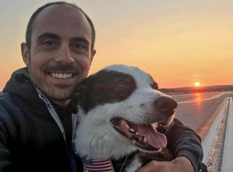 Airport operations manager Brian Edwards was assisted by his dog at work