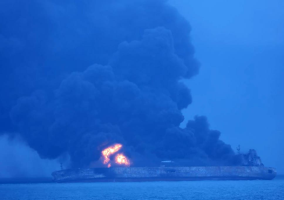 Iranian Tanker Bursts Into Flames After Collision Off Chinas Coast