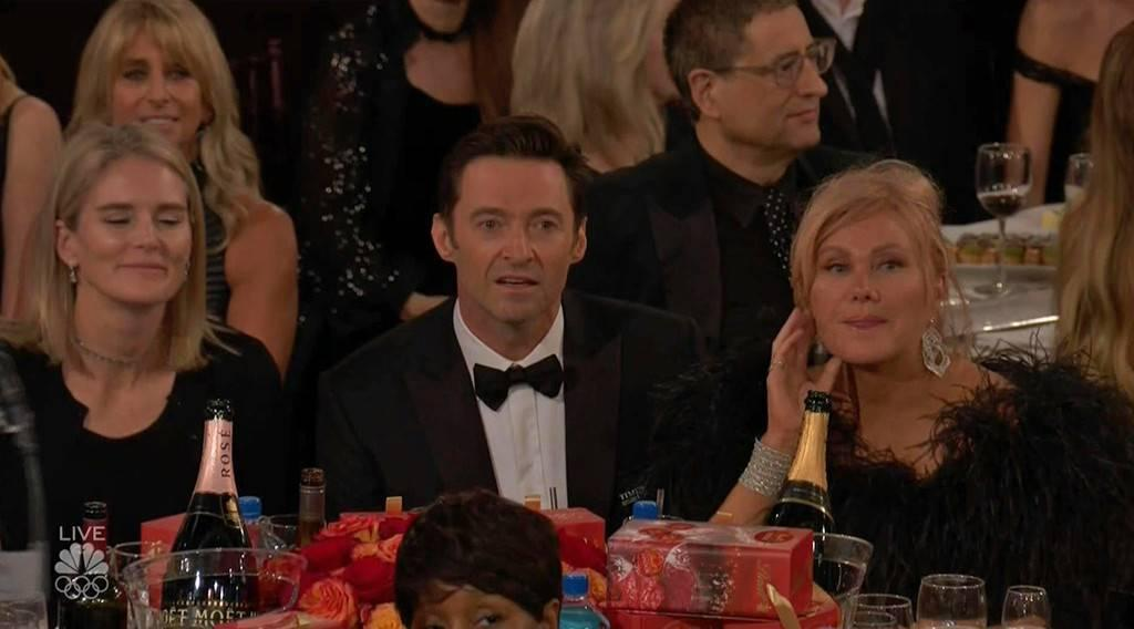 Hugh Jackman's losing face during James Franco's Golden Globes speech is priceless