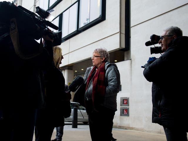 Journalist Carrie Gracie speaks to the media outside the BBC in London after she turned down a £45,000 rise, describing the offer as a 'botched solution' to the problem of unequal pay at the BBC