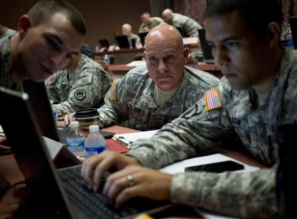 Soldiers at a command centre