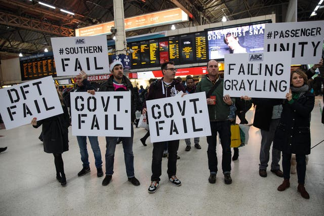 Unhappy rail passengers protesting: A feature of Britain's privatised railways