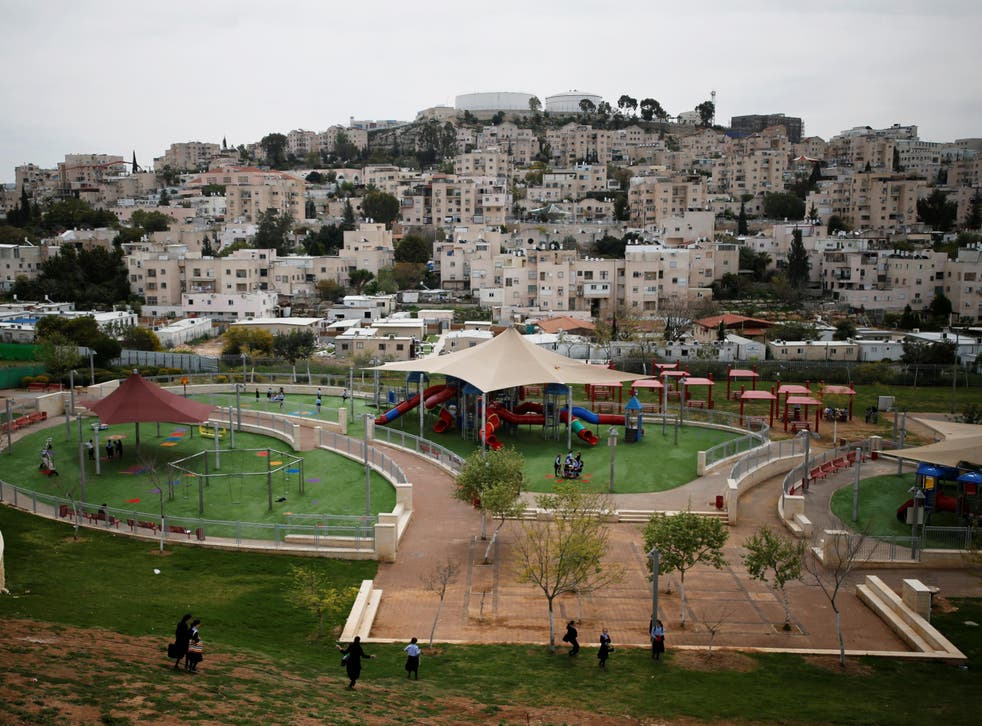 A playground is seen in this general view picture of the Israeli settlement of Modiin Illit in the occupied West Bank, 27 March 2017