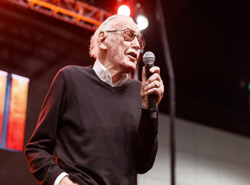 Stan Lee speaks onstage at ENTERTAINMENT WEEKLY Presents Dwayne 'The Rock' Johnson at Stan Lee's Los Angeles Comic-Con at Los Angeles Convention Center on October 28, 2017 in Los Angeles, California. Credit: Rich Polk/Getty Images for Entertainment Weekly