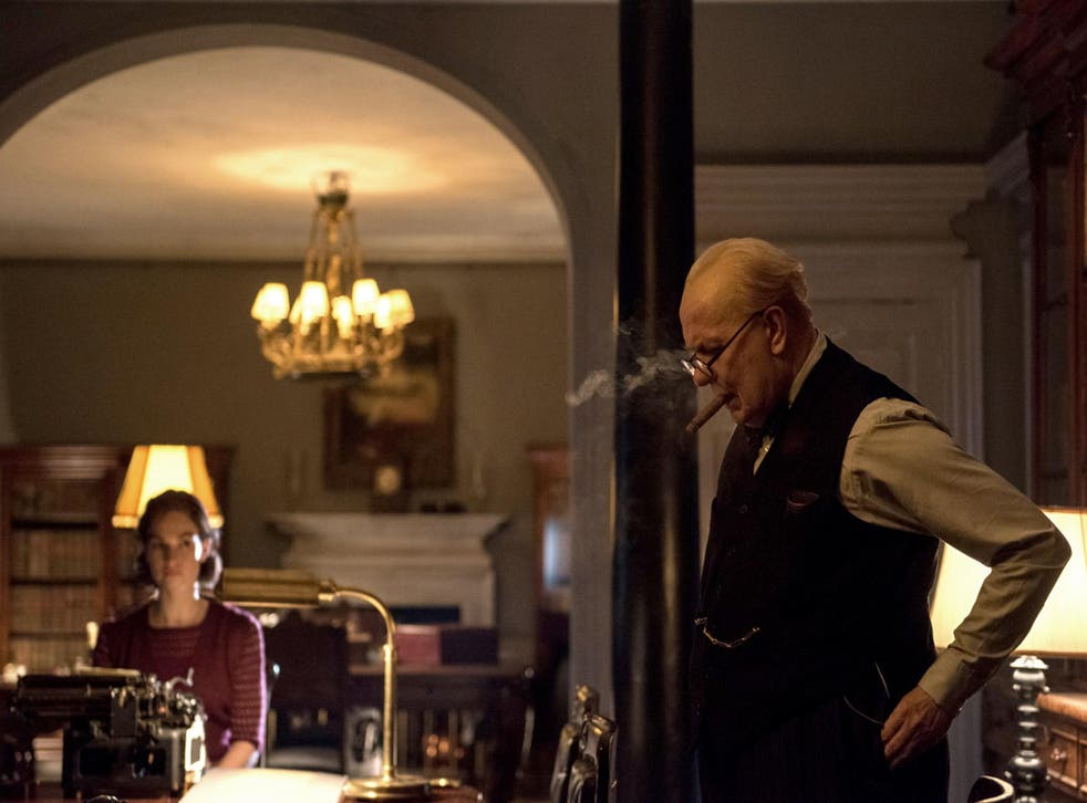 At times, as played by Gary Oldman, Churchill is like one of those forlorn characters in a Samuel Beckett play, an old man consumed with guilt and regret