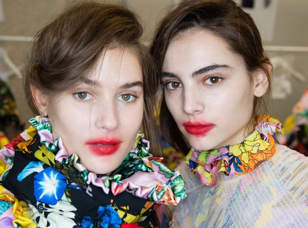 In the red: models backstage ahead of the Preen by Thornton Bregazzi show