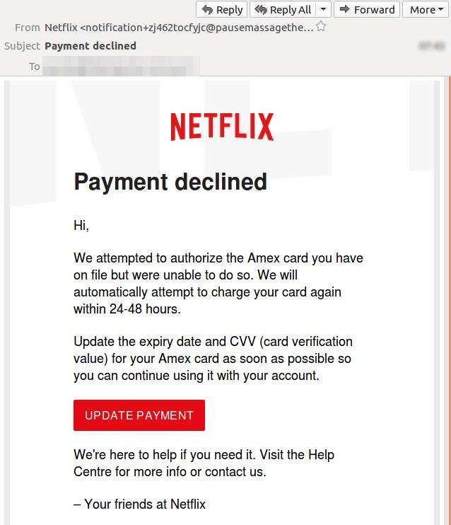 Netflix users receive convincing-looking scam email designed