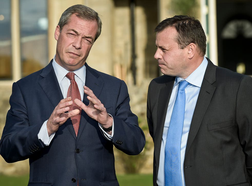 """Nigel Farage and Arron Banks (r) were reported to be planning a """"Ukip 2.0"""""""