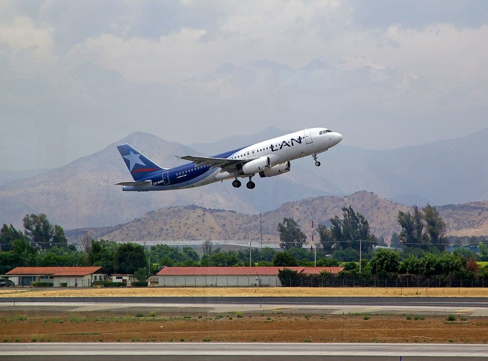 Lan Airlines airbus A320 in Santiago airport