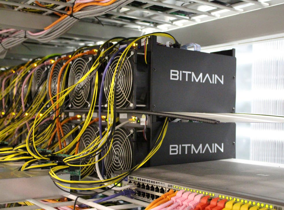 Bitcoin mining computers are pictured in Bitmain's mining farm near Keflavik, Iceland
