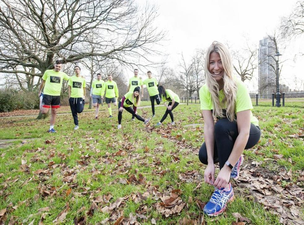 Effort: Hannah Richards, front, and other Team Felix members in Hyde Park in training for the Big Half