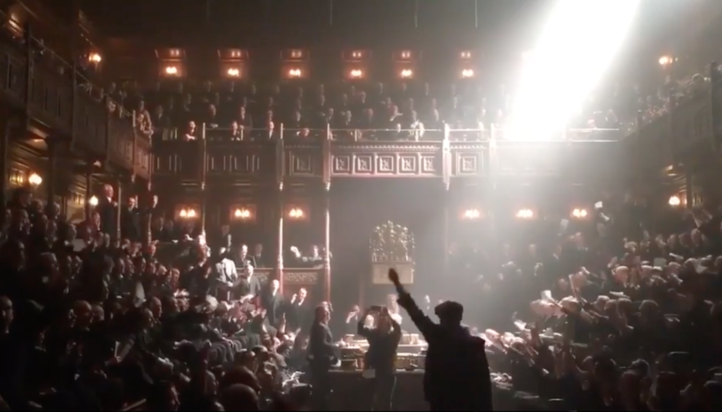 Gary Oldman and Joe Wright sing 'Hey Jude' with 450 extras on set of Darkest Hour