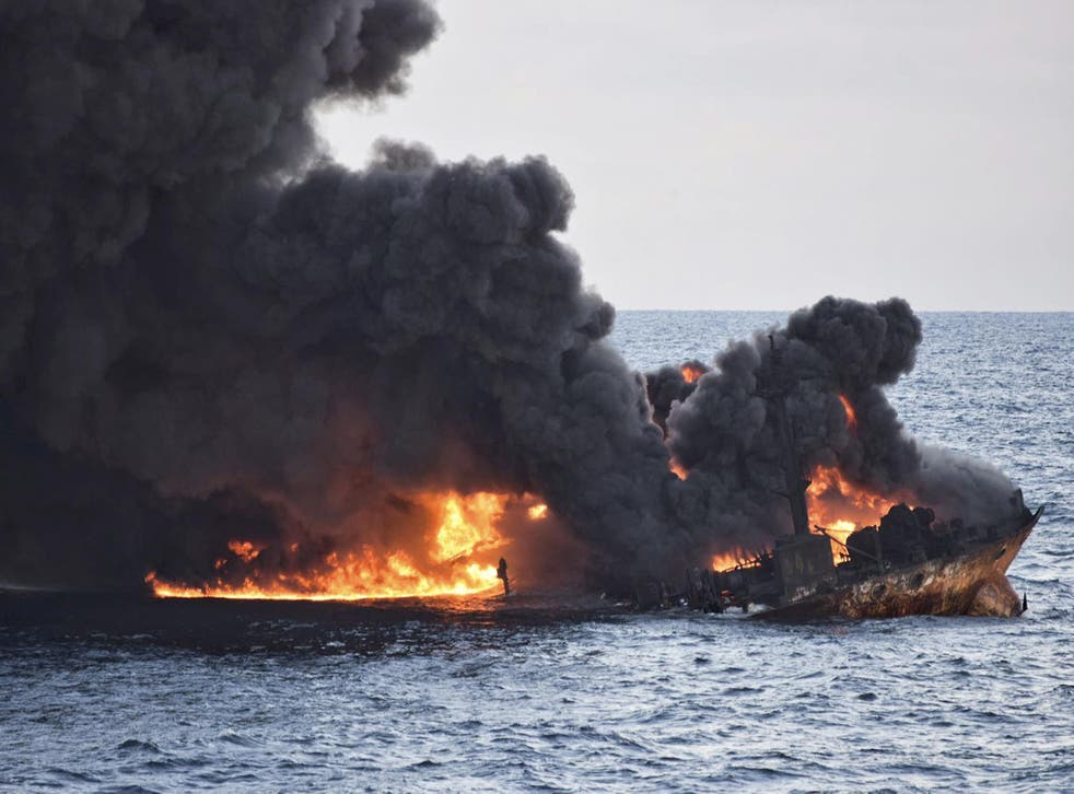 The wreckage of the burning Iranian oil tanker sank on Sunday, adding to concerns about its impact on the marine environment