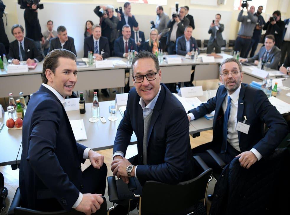 Austrian conservative chancellor Sebastian Kurz, far-right deputy chancellor Heinz Christian Strache, and far-right interior minister Herbert Kickl are in coalition together