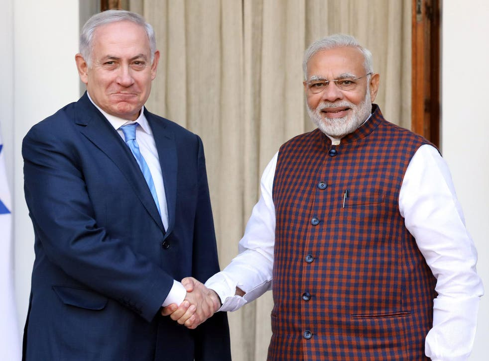 Benjamin Netanyahu was welcomed by Narendra Modi in Hebrew as he arrived in India for a six-day visit