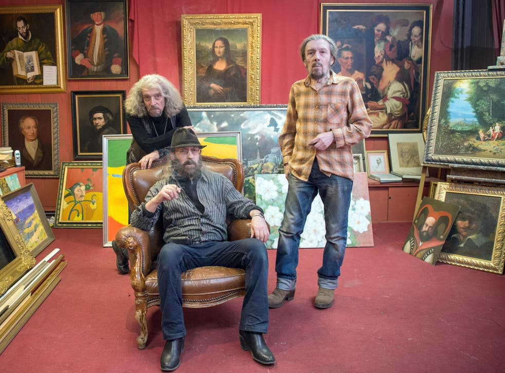 Posing in their Berlin art salon, the brothers (from left) Eugen, Michael and Semjon Posin are making a fortune copying great paintings