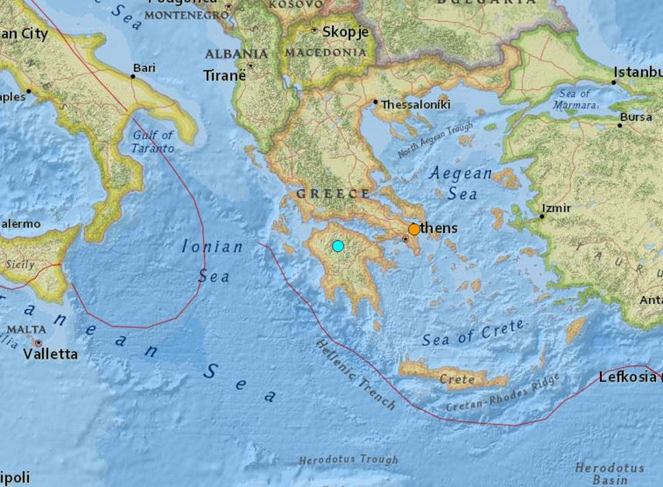 Earthquake shakes greece with tremors felt in athens the independent map showing the location of two earthquakes that hit greece on monday gumiabroncs Choice Image