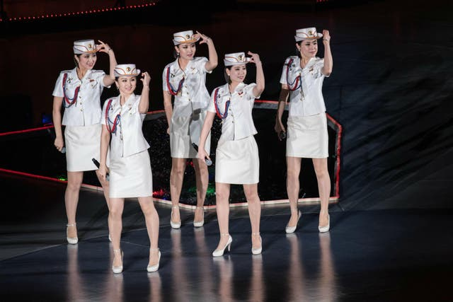 North Korea's all-female Moranbong Band perform in Pyongyang on May 11, 2016.