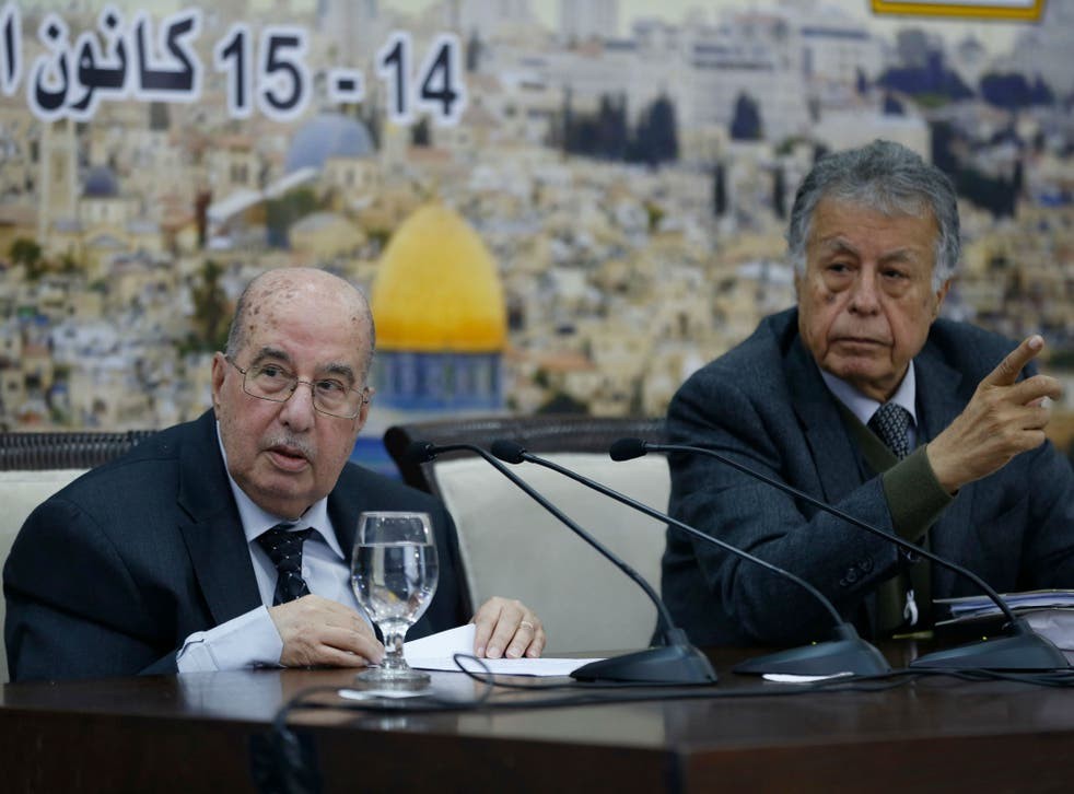 Senior Palestinian official Salim Zaanoun reads a statement at the end of a meeting of the Palestinian Central Council in the West Bank city of Ramallah