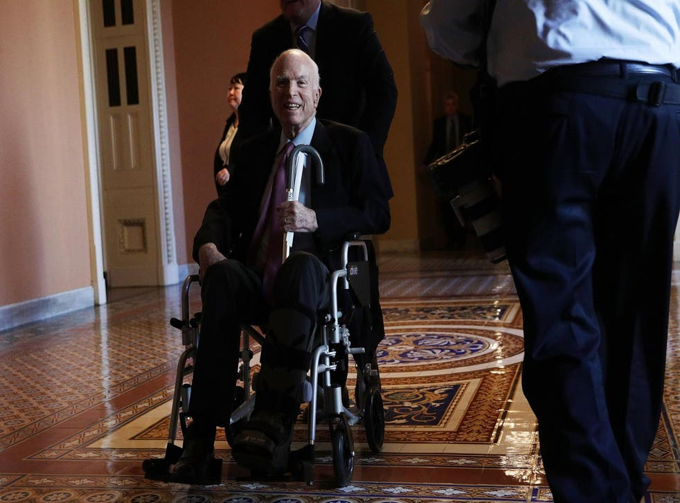 Senator McCain returned home before Christmas after being hospitalised but is recovering well