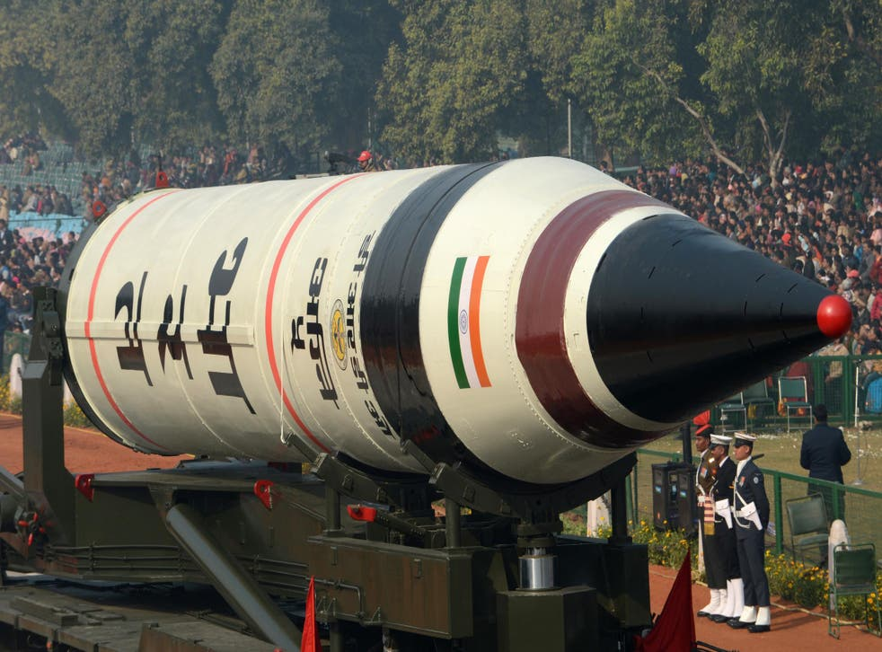 India's Agni V missile is displayed during a dress rehearsal for the Indian Republic Day parade in January 2013