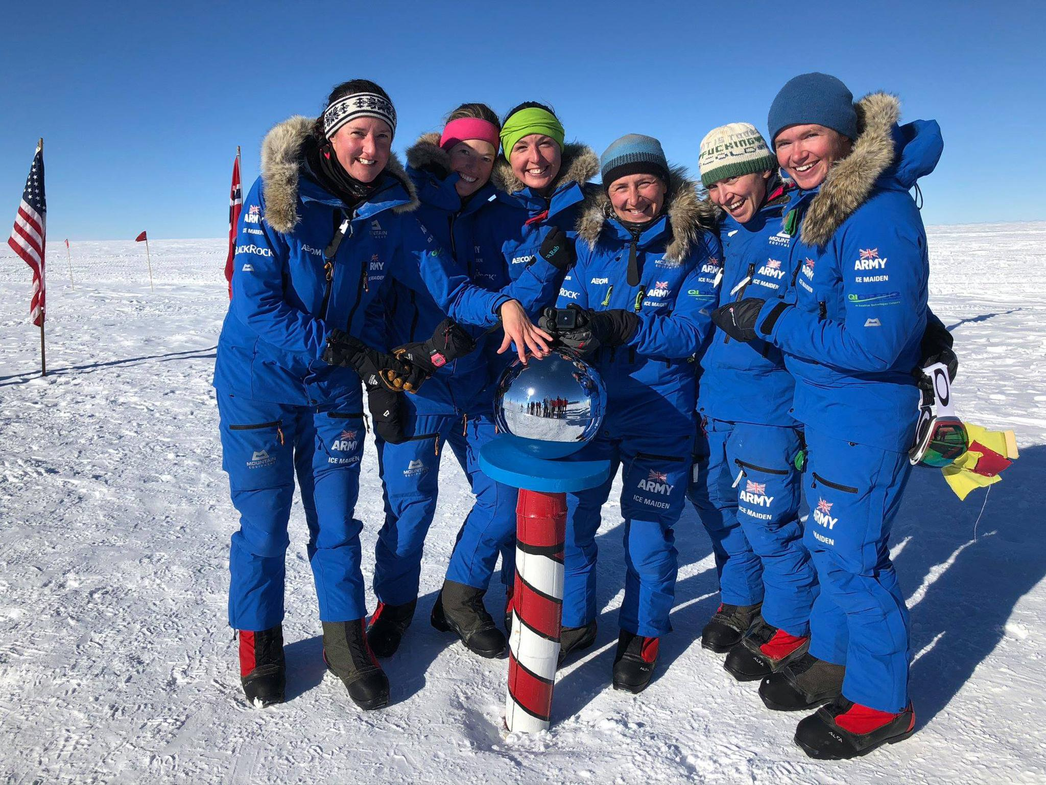 All-female team of British soldiers become first women's group to cross Antarctica using only muscle power
