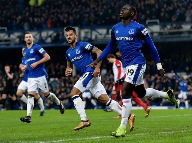 Oumar Niasse celebrates his equalising goal for Everton