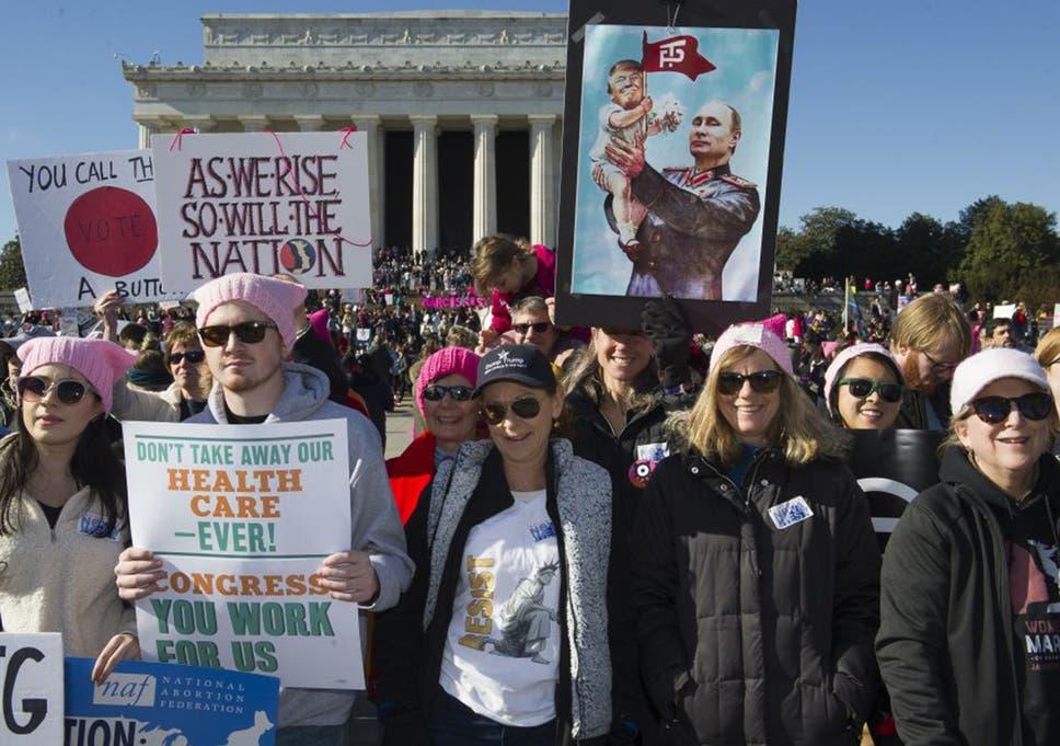 805ac06de04cd Women s march  Thousands protest against Donald Trump s  racism  and ...
