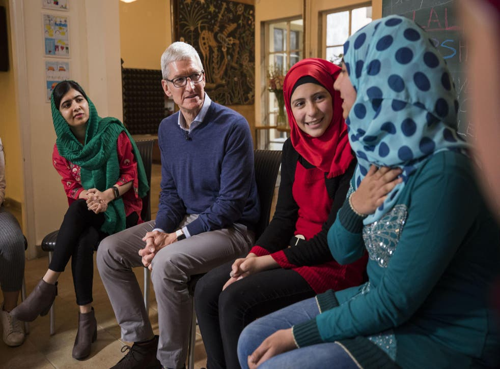 Apple CEO Tim Cook and Nobel Peace Prize Laureate Malala Yousafzai with Lebanese and Syrian students supported by Malala Fund in Beirut, Lebanon
