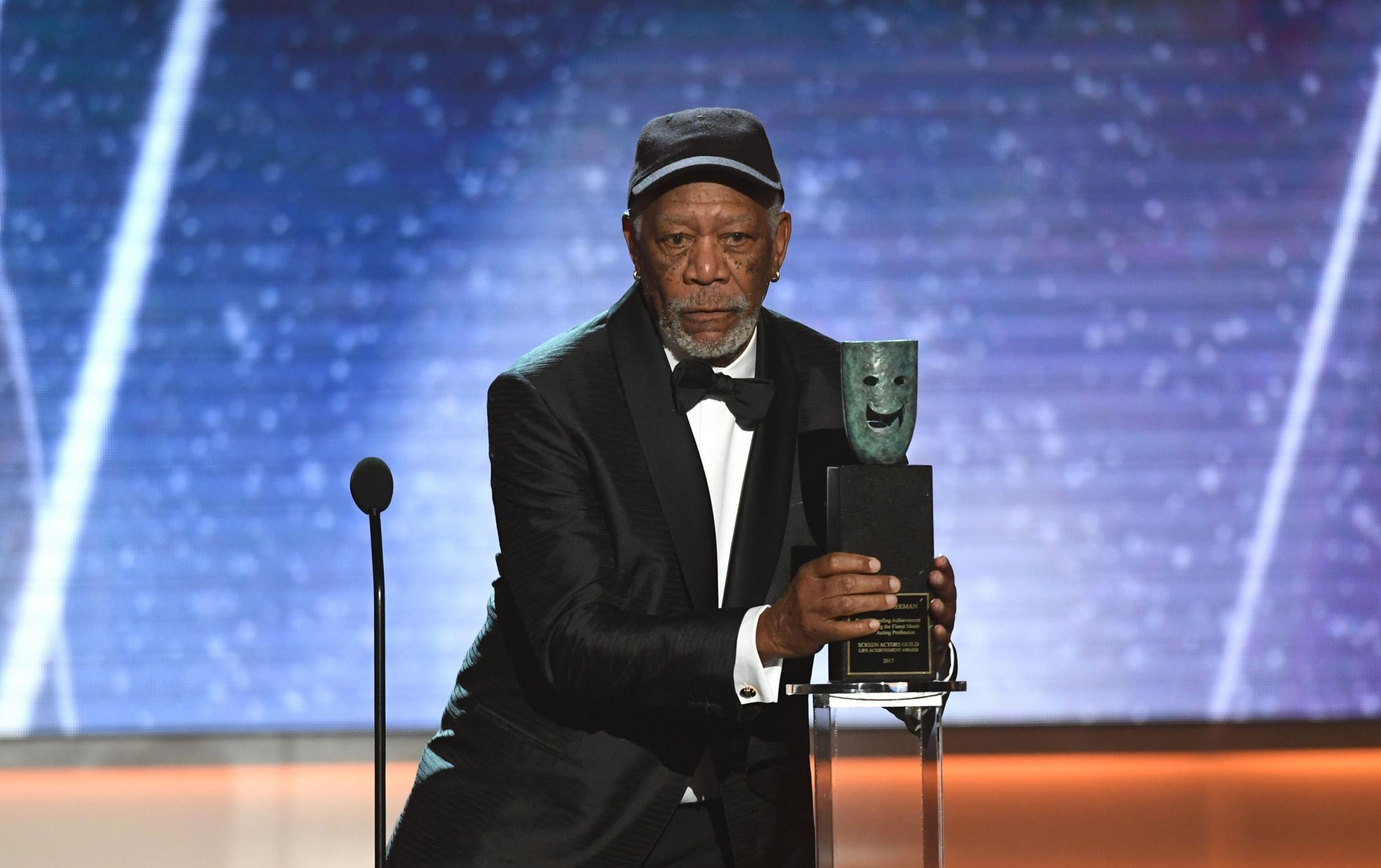 Morgan Freeman calls out SAG guest for talking during his Lifetime Achievement acceptance speech