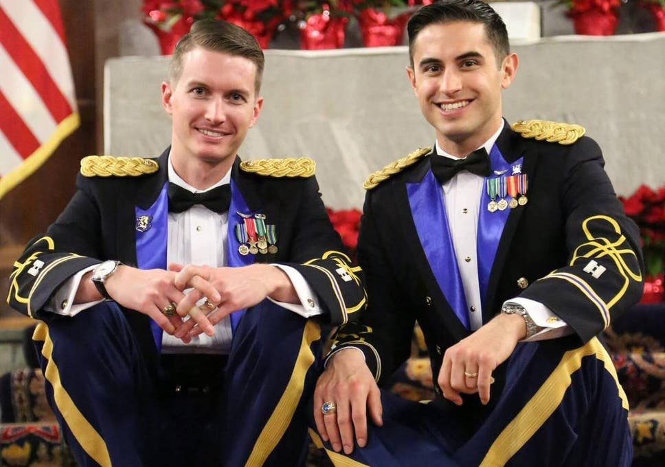 Apache helicopter pilots become first active-duty same-sex couple to marry  at West Point. '