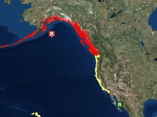 The areas where a tsunami could hit after 7.9-magnitude earthquake strikes off Alaska