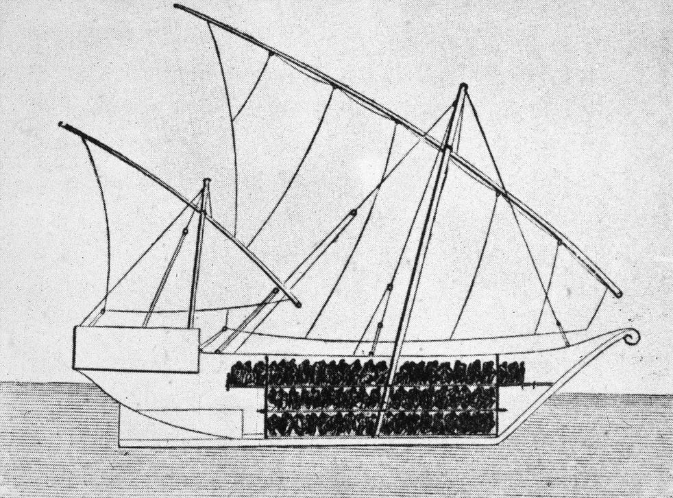 Sketch of a ship used to transport slaves in the 1750s