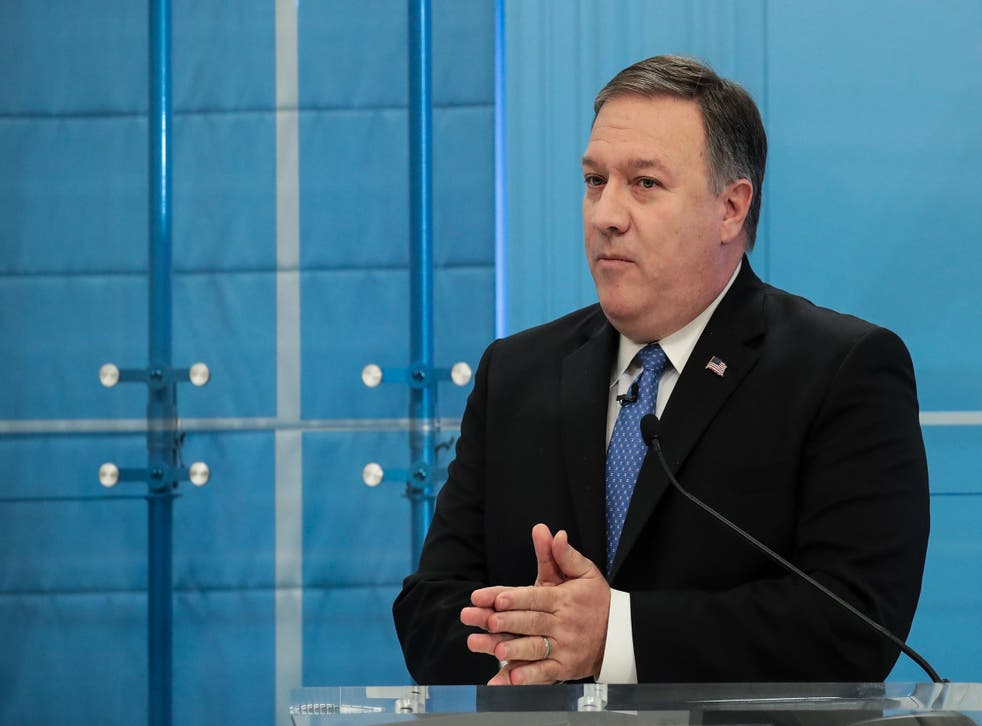 Director of the Central Intelligence Agency (CIA) Mike Pompeo speaks at the American Enterprise Institute