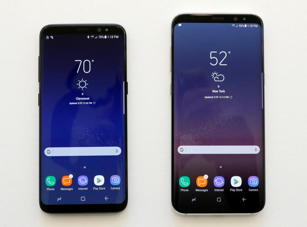Samsung Galaxy S8 and S8+ smartphones are displayed during the Samsung Unpacked event in New York City, United States March 29, 2017