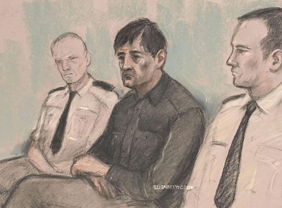 An artist's sketch of Darren Osborne at Woolwich Crown Court, where he is on trial for murder