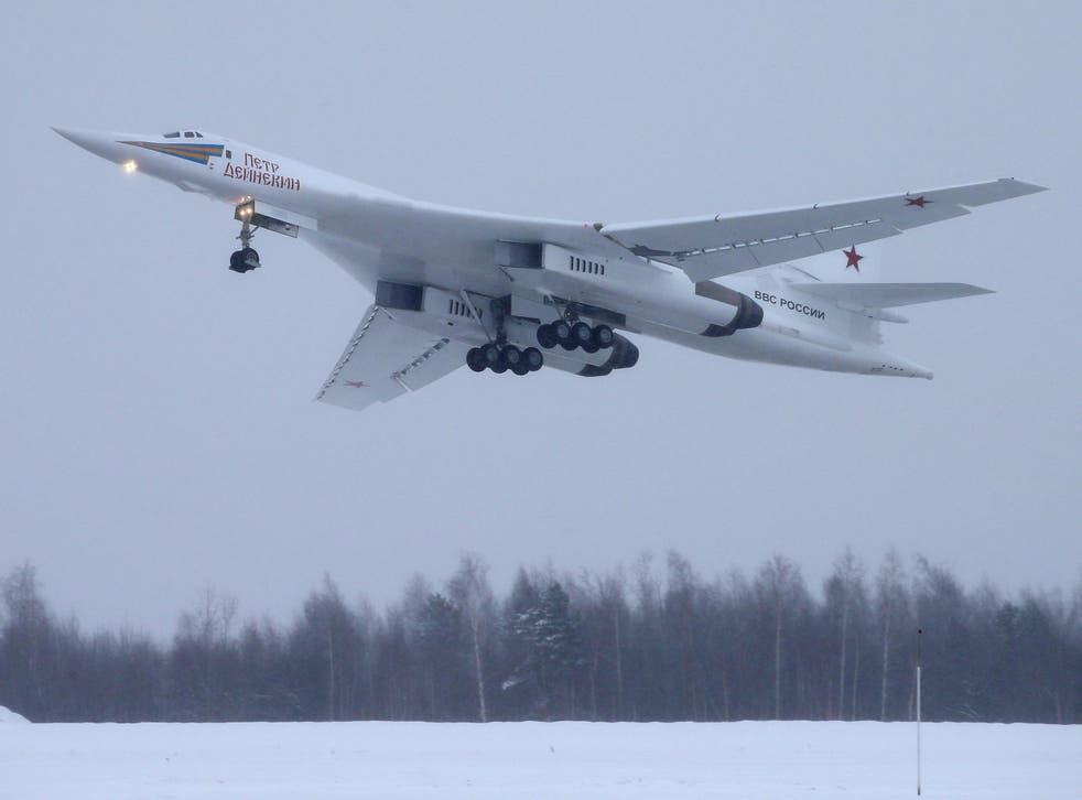 TU-160M heavy strategic bomber performs demonstration flight