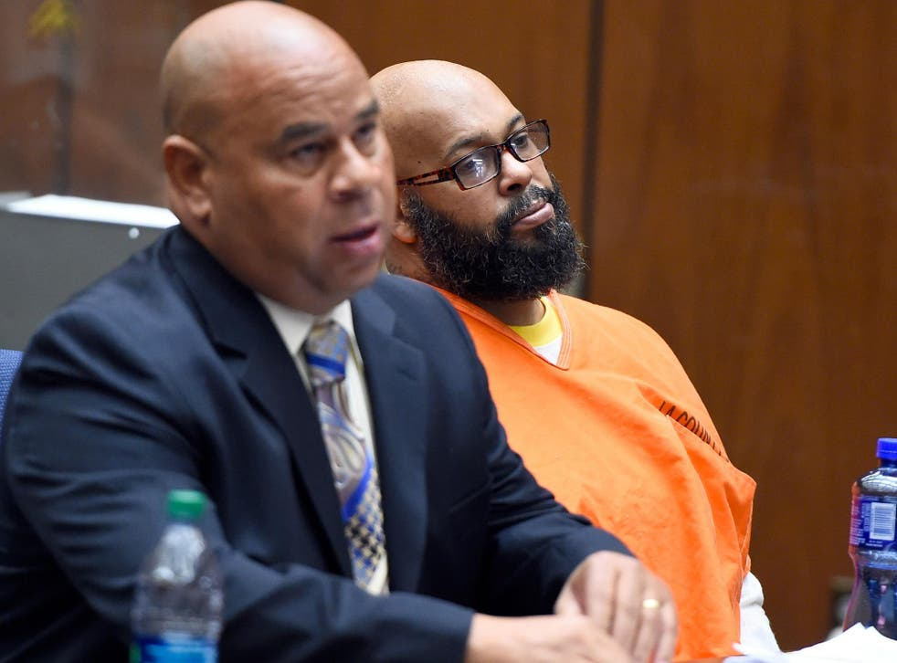 Marion 'Suge' Knight appears in court with his Lawyer Matthew P Fletcher for his bail hearing on 20 March 2015 in Los Angeles
