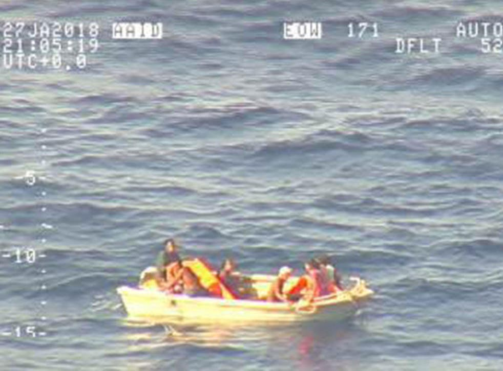 The seven survivors had been adrift in the Pacific OCean on a five-metre dinghy after drifting for four days